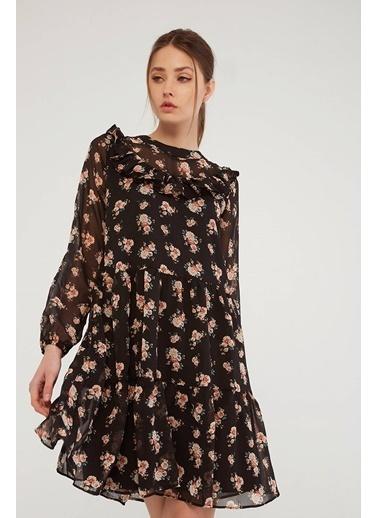 Modaset Fırfırlı Şifon Elbise  Siyah